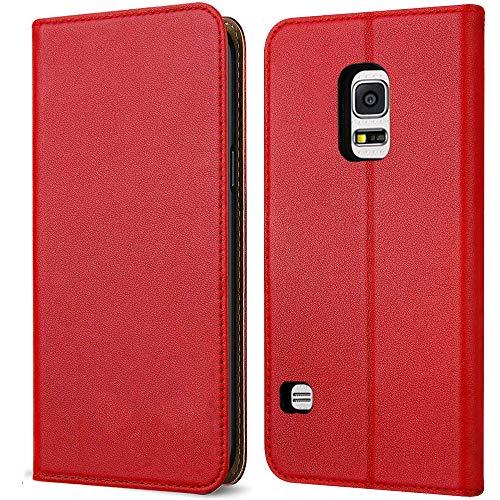 FDTCYDS Etui s5 Mini, Coque Galaxy s5 Mini Pochette Portefeuille en Cuir Véritable Coque de Protection pour Housse Samsung Galaxy s5 Mini avec Fonction Stand – Red/Rouge