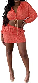 sayahe 女性ロングスリーブ作物イブニングクラブフードスパンコールスカートセット