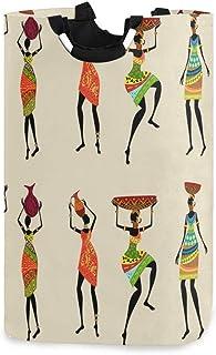N\A Femme Africaine Femmes Porte-Panier à Linge étanche, Grand Panier de Sac à Linge Pliable pour vêtements Sales, Organis...