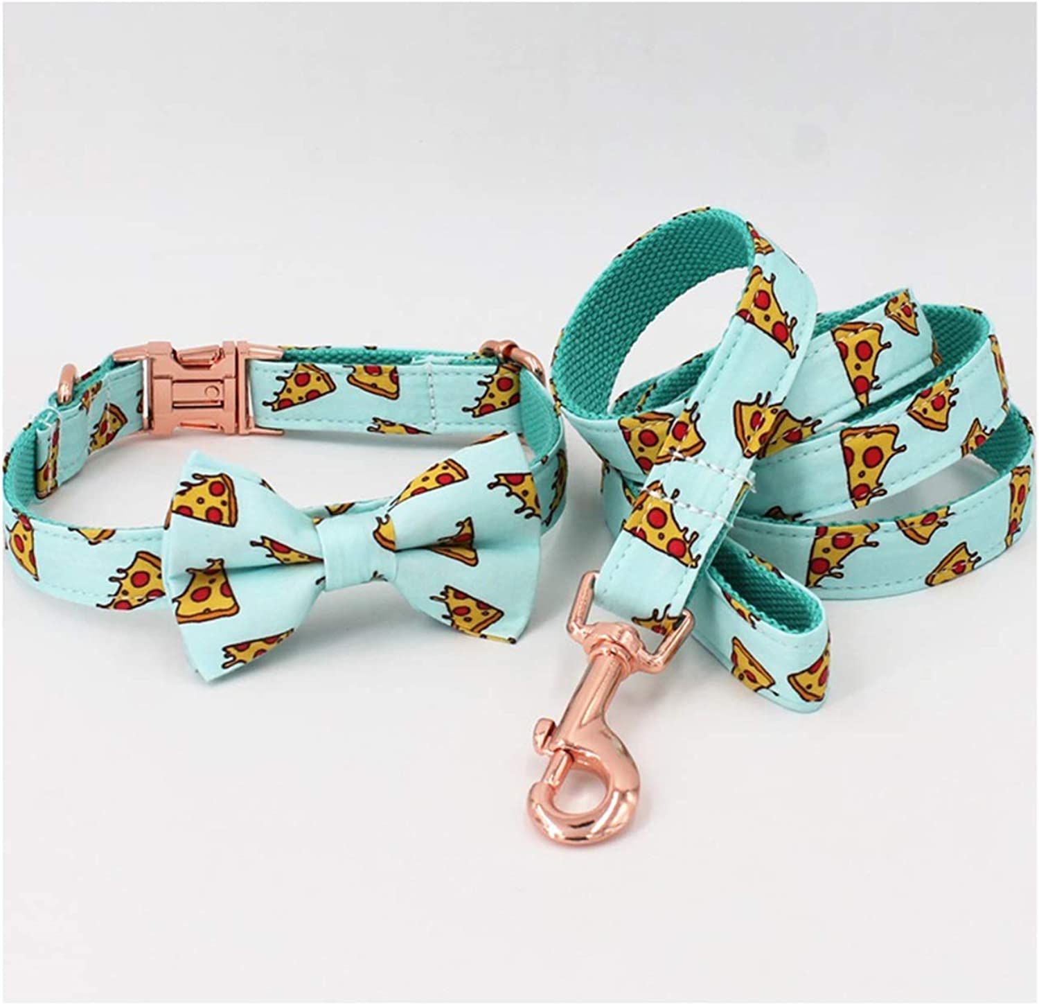 Beatybag Popular Pizza Pattern Dog Collar and Leash with Bow Tie for Big and Small Dog Cotton Fabric Collar pink gold Metal Buckle Collar Bow Leash XS(1525cm Length)