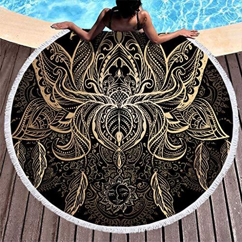 JEFFERS Circular Beach handdoek zwart gouden Mandala strand deken voor zwembad zonnebank geen krimp yoga tapijt met franje
