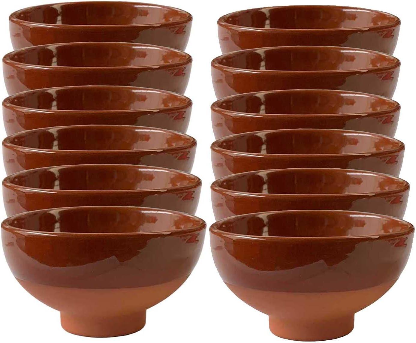 Pack de 12 tazas de barro cocido de 9,5 cm. de diámetro, ideales para vino, salsas o aperitivos, juego de 12 cuencos de barro pequeños 5 x 9.5 cm