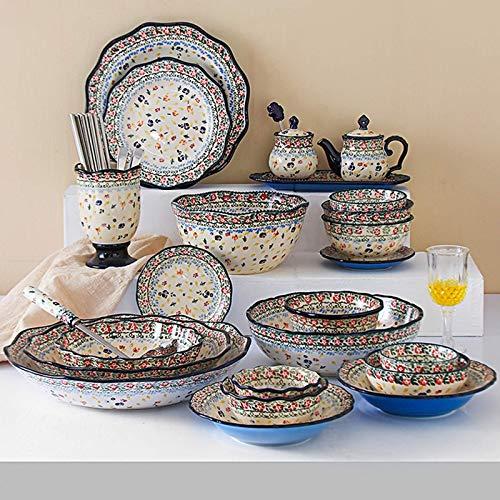 ZJZ Juego de vajilla de cermica, Juegos de Cena de Porcelana de 34 Cuencos de Cereal y Juego de Platos para bistec para Regalo de Boda