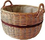 dobar Chimenea Madera Cesta de Mimbre pelado, Forrado con Yute, marrón, 50x 50x 28cm