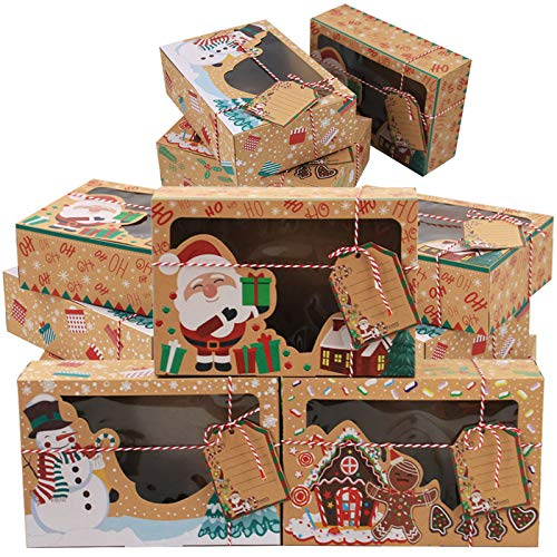 Christmas Cookie Boxes Doughnut Gift Boxes Bakery Box with Window,Large Holiday Food Bakery Treat Boxes Xmas Ribbons for Gift on Holiday Party(Set of 12)