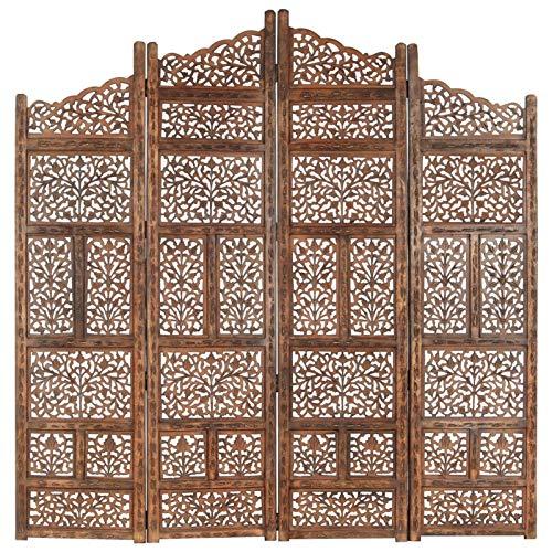 Tidyard Paravent Raumteiler Trennwand Raumtrenner Wandschirme, Holz Schnitzerei, Oriental Wand Paravent, Braun 160×165/200×165 cm