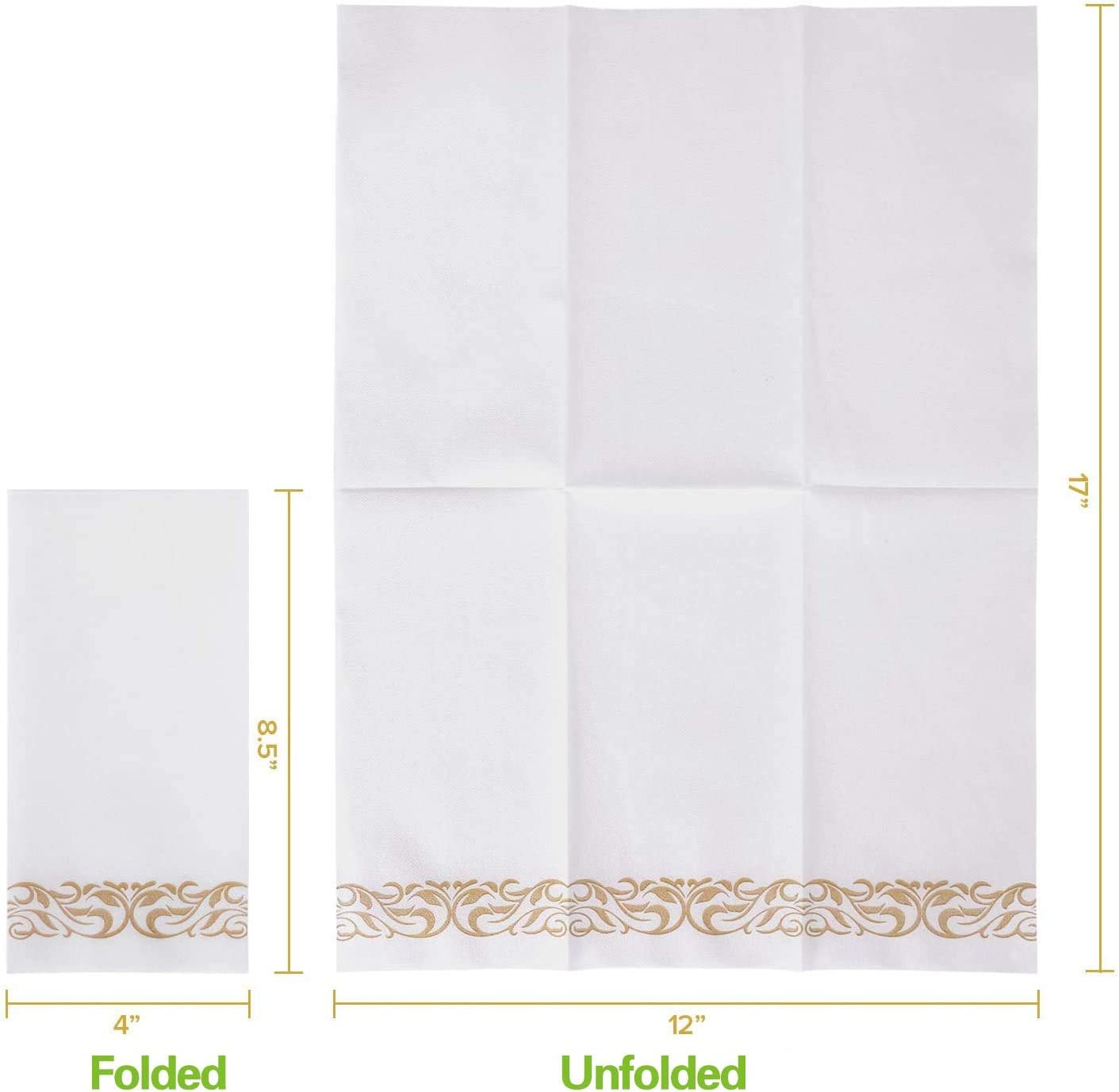 Parties Dinners or Events Party Napkins Wedding Napkins for Kitchen 100 Pack Paper Napkins Guest Towels Gold Disposable Dinner Napkins Paper Soft Absorbent