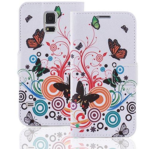 numerva Handyhülle kompatibel mit Nokia Lumia 530 Hülle [Schmetterling Muster] Hülle Nokia Lumia 530 Handytasche