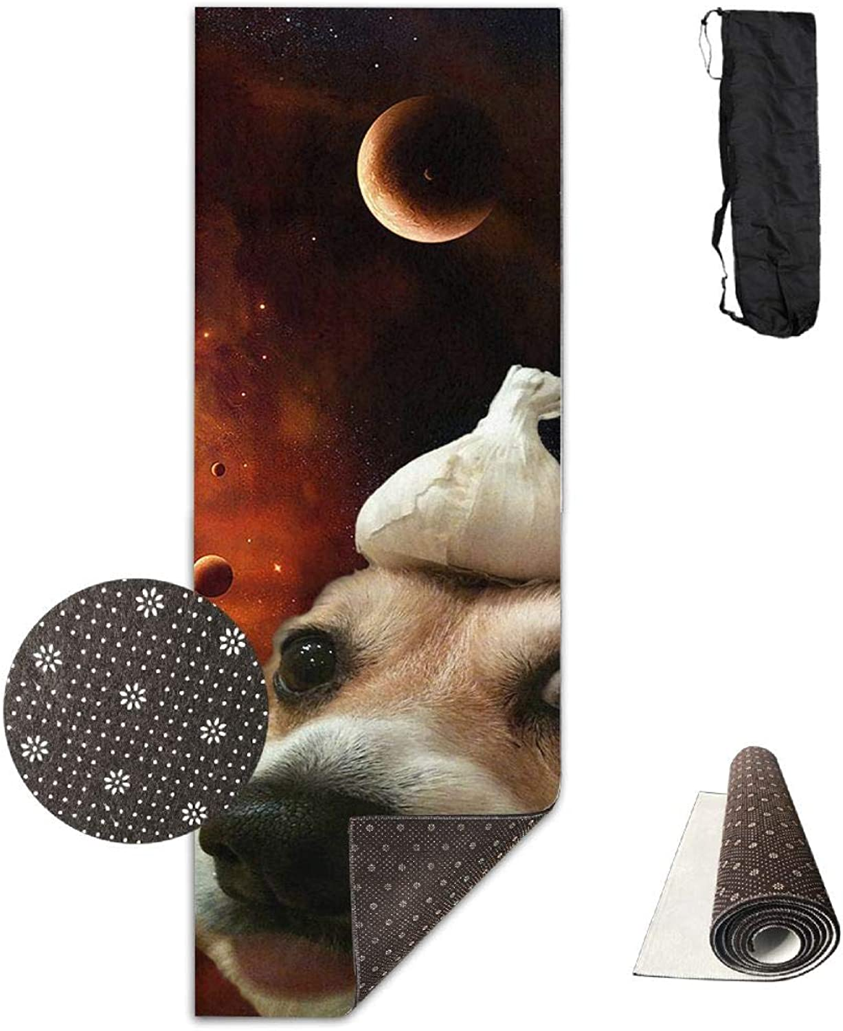 Yoga Mat Non Slip 24  X 71  Exercise Mats Funny Space Dog Premium Fitness Pilates Carrying Strap