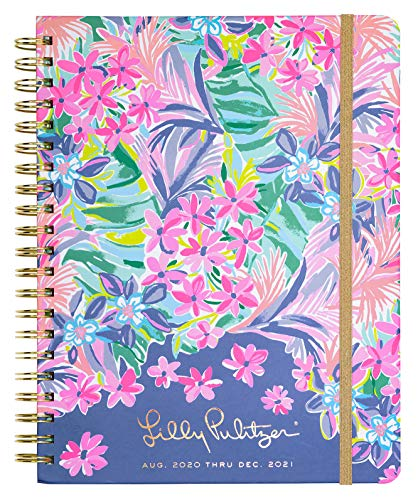 Lilly Pulitzer Jumbo 2020-2021 Planner Weekly & Monthly, Dated Aug 2020 - Dec 2021, 17 Month Hardcover Agenda with Notes/Address Pages, Stickers, Pocket, Laminated Dividers, It Was All A Dream