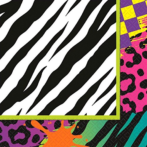 80s Themed Colourful Luncheon Napkins x 16