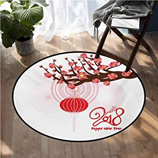 Chinese New Year Rugs for Sale Blossoming Cherry Branch and Lantern with Happy Wish Home Bedroom Floor Mats D66 Inch