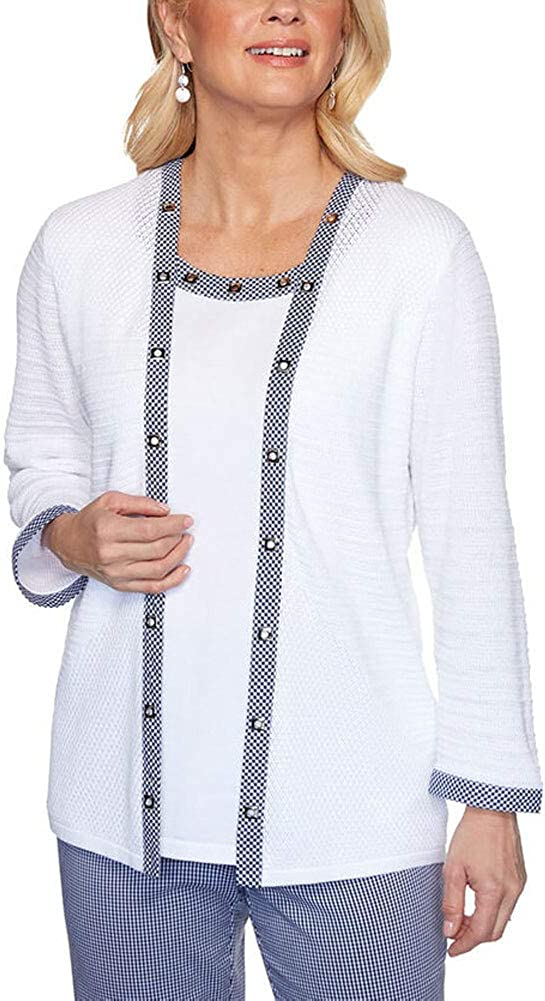 Selling and selling Max 67% OFF Alfred Dunner Easy Street Gingham Two One Trim for Sweater