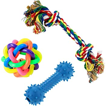 PetVogue Training Toy Set with Ball Ropes and Squeaky for Small Dog and Pets - Pack of 3