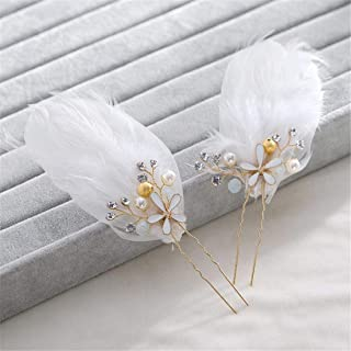 LUKEEXIN Bridal Gown Accessories Hairpin Flower Gold Color Flower Core Pearl Bun Flower Headwear 2pcs/Set (Color : Golden)