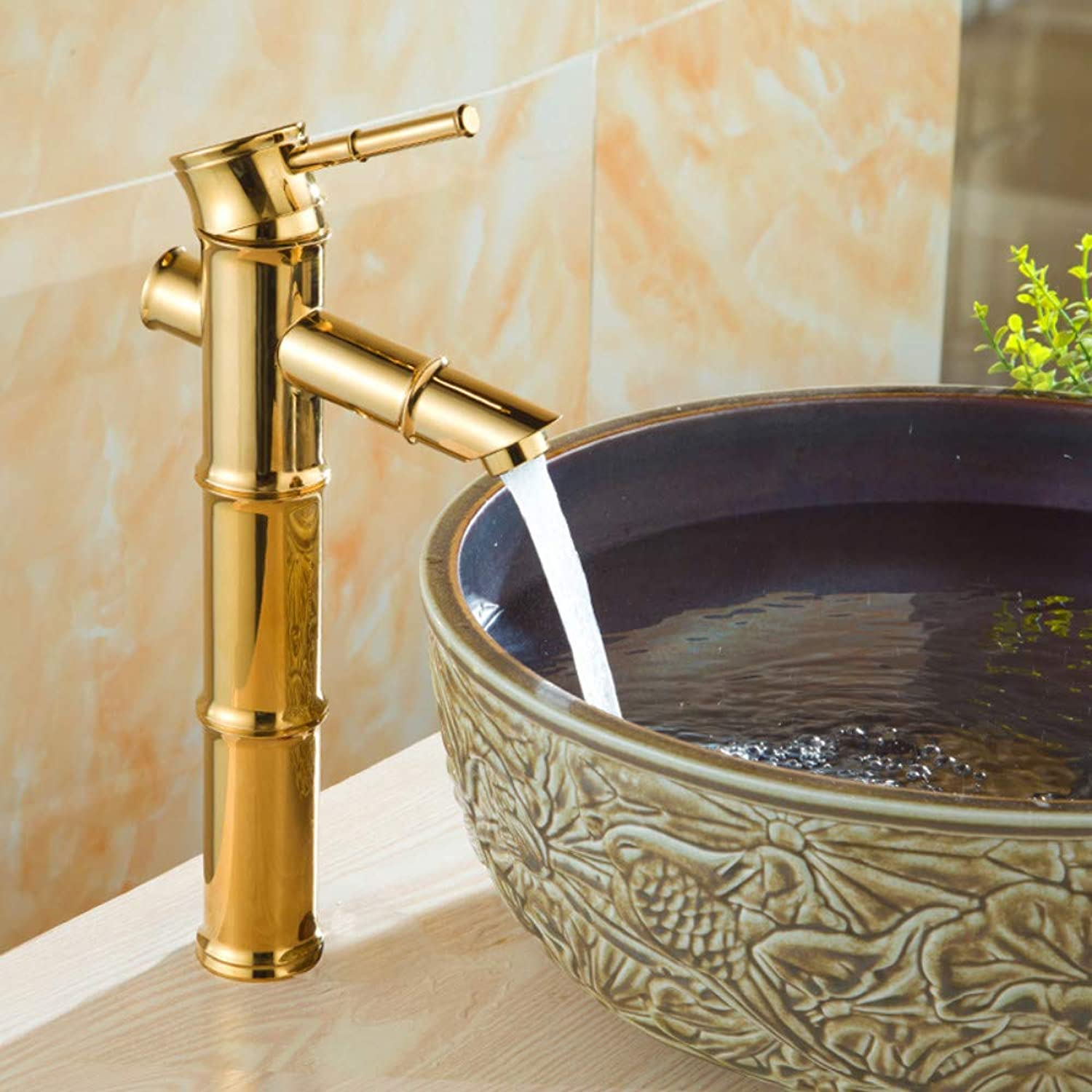 Bathroom Sink Tap Bathroom Basin Sink Bamboo Style Faucet Basin Mixer Tap golden Polished Copper Faucets Sink Faucet