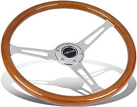 NRG Innovations RST-360SL Reinforced Steering Wheel (Classic Wood Grain Wheel, 360mm, 3 spoke center in chrome)