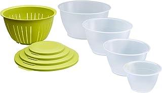 Westmark Skålset i 9 delar, 4 skålar med lock samt 1 sil, Volym: 0,6/1,3/2,5/4,4 liter, Plast, Utan BPA, Olympia, Färg: Ge...