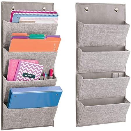 mDesign lot de 2 armoires à suspendre à motif de jute – étagère de rangement polypropylène respirant – meuble de rangement en tissu à suspendre à la porte ou monter sur le mur – gris