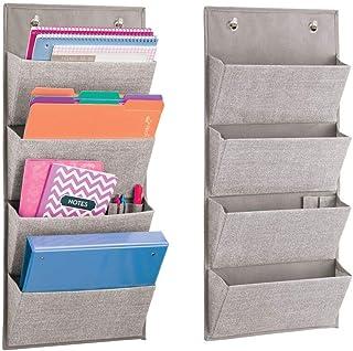 mDesign lot de 2 armoires à suspendre à motif de jute – étagère de rangement polypropylène respirant – meuble de rangement...
