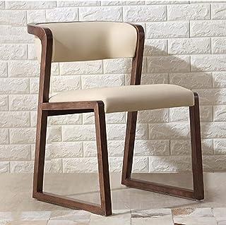 QFWM Sillas de comedor de madera maciza, silla de comedor de cuero para sala de estar y comedor, muebles de cocina y comedor (color: natural, tamaño: S)