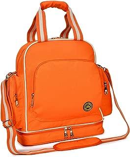 QIMIAOBABY Diaper Bag Smart Organizer Waterproof Travel Diaper Backpack Handbag with Changing Pad (Orange)
