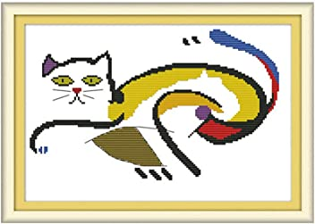 Proumhang 14CT Cross Stitch Lovely Animal Anime Simple Beginner Cross Stitch Embroidery Needlecraft DIY White Cloth Canvas Aida Printed 37cm x 19cm:Lovely Owl