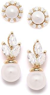Zaveri Pearls Set of 2 Gold Tone Contemporary Cubic Zirconia Brass Stud Earrings For Women-ZPFK11164