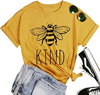 Be Kind T-Shirt Women Short Sleeve T Shirts Cute Bee Graphic Shirts Blessed Shirt Funny Inspirational Casual Tees Tops