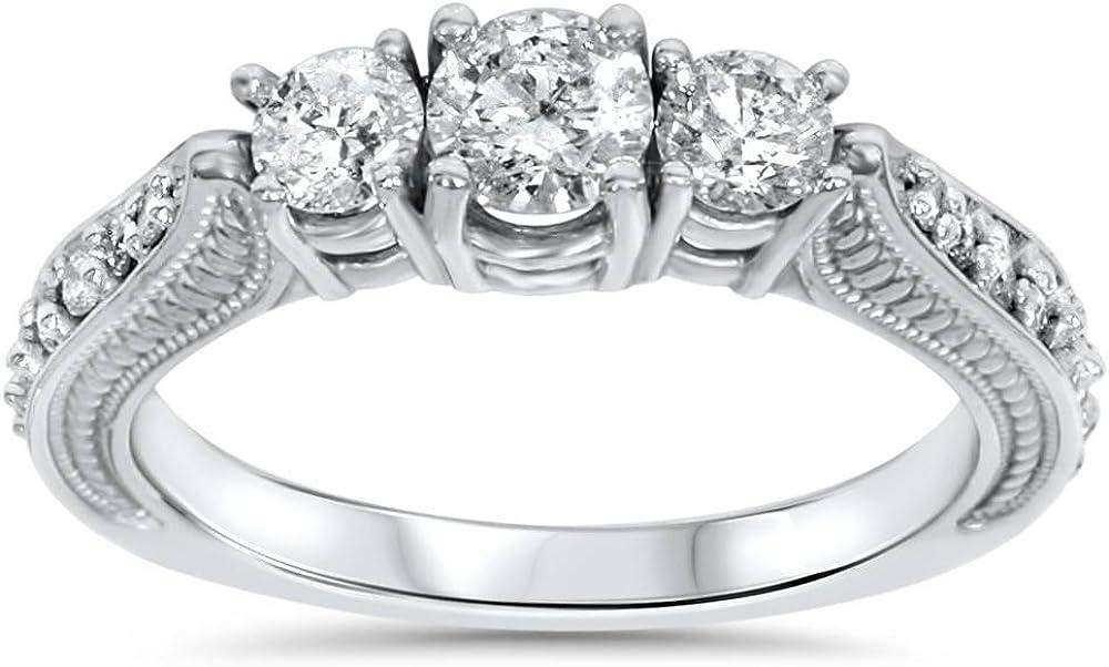 1ct 3 Stone Vintage Diamond Engagement Ring 14K White Gold