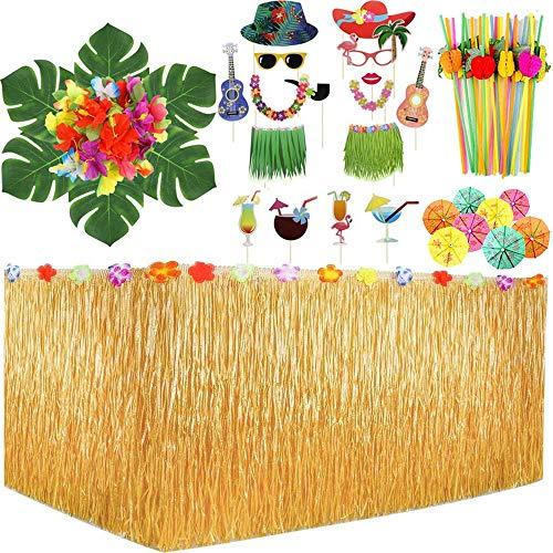Evance 165 Pezzi Gonna Tavolo Hawaiana Tovaglia da Tavolo Set, Foglie di Palma Fiori Photo Booth Stile Hawaii e Cannucce di Frutta (Oro)