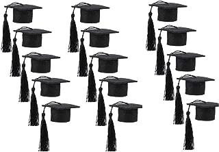 15 Pack Mini Graduation Caps Black Bachelor Hat-Shaped Bottle Toppers for Grad Party Decorations