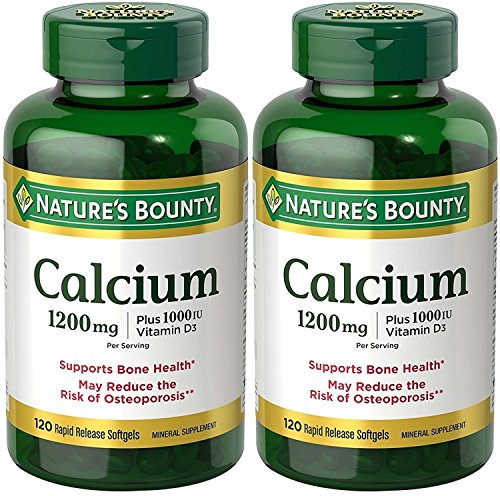 Nature's Bounty Calcium 1200 Mg. Plus Vitamin D3, 240 Softgels (2 X 120 Count Bottles)