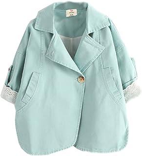 (ラクエスト) Laquest スプリング オーバー コート レース 付き 薄手 子供用 アウター 七分袖 ジャケット 女の子