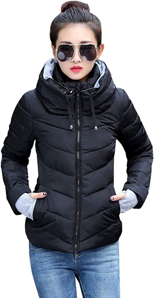 BOZEVON Women Quilted Coat-Ladies Quilted Winter Hooded Down Jacket