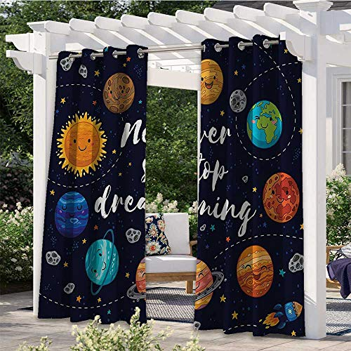 Print Outdoor Curtains Cute Outer Space Planets And Star Cluster Solar System Moon And Comets Sun Cosmos Illustration Darkening Window Panel Create A Comfy Homey Environment Multi W84 x L84 Inch