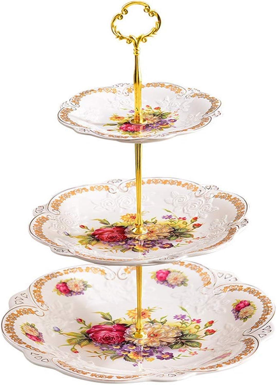 Assiette de fruits en céramique à trois couches, assiette européenne blanche, assiette de fruits secs, buffet de desserts, cadre de décoration pour table de collation verticale, (Couleur   6911900000)