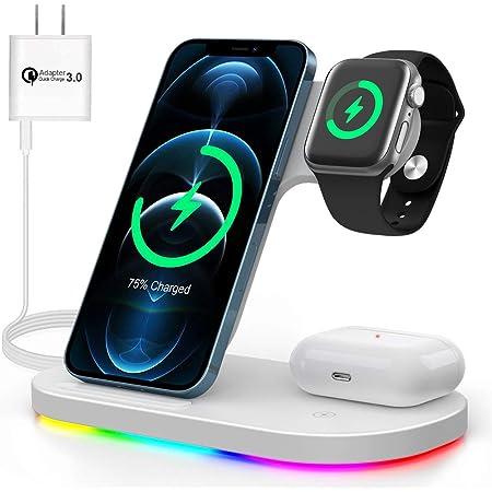 ワイヤレス充電器 充電スタンド 3in1充電器 iphone充電器 qi充電器 ワイヤレスチャージャー 急速充電 QI認証済 5W/7.5W/10W/15W出力 qi機種対応 QC3.0充電器付属 ホワイト…