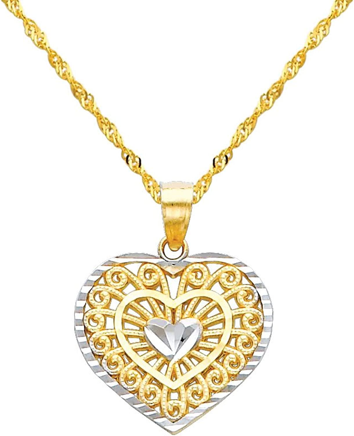 14k Two Tone gold Heart Charm Pendant with 1.2mm Singapore Chain Necklace