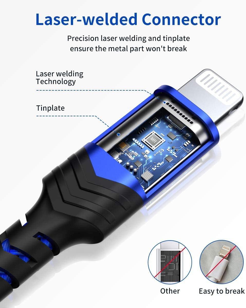 Caricatore Cavo iPhone di Nylon Compatibile con Apple iPhone 11//X//XS//XS Max//XR//8//8 Plus//7//7 Plus//6s//6s Plus//6//6 Plus//5c//5s//5//SE Rosa iPod Certificato MFi iPad JSAUX Cavo Lightning 1.8M//6ft,
