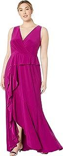 Adrianna Papell Women's Plus Size Jersey Cascade Evening Gown