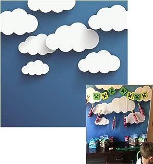 Leowefowa 5X5FT Vinyl Photography Backdrop Cartoon White Cloud Abstract Blue Wallpaper Background Sweet Baby Kids Children Lover Photo Studio Props