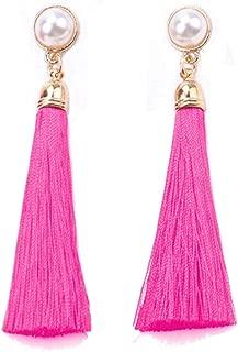 Women Colorful Thread Tassel Earrings with Pearl Drop Earrings Dangle