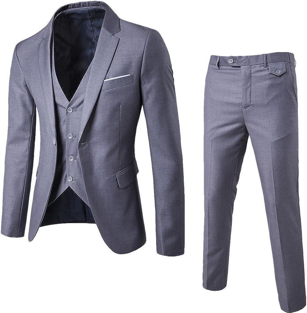 NiuZi Ranking TOP17 Men's Fashion Classic Time sale Slim Suit Dress Fit Business 3-Piece