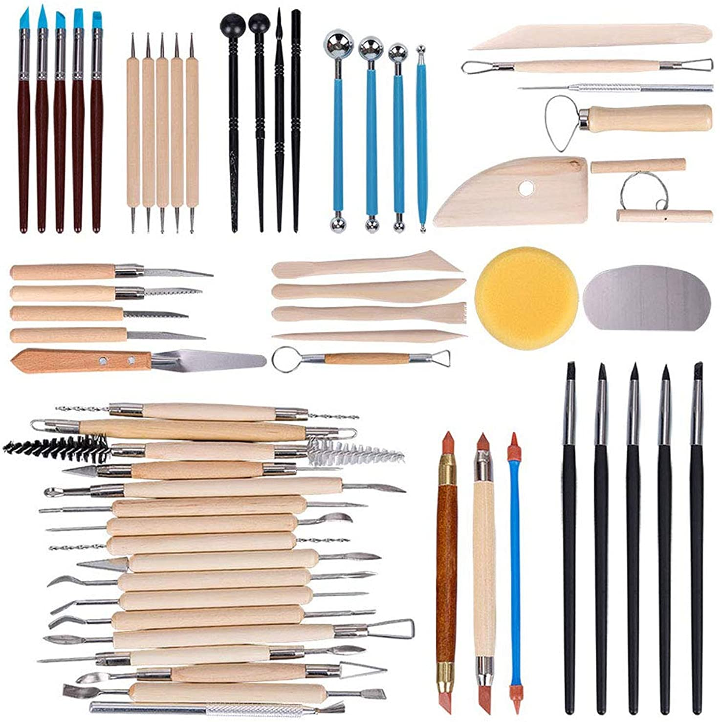 Buyra 61 Pcs Ceramic Clay Tools Set, Modeling Clay Sculpting Tools Kits, Polymer Clay Tools, Pottery Tools for Beginners Professionals Arts Crafts, Wood and Steel, Home School Use