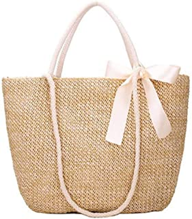 GSERA Böhmische Strohhülle Frauen Große Kapazität Damen Strandtasche Urlaub Gewebte Tasche für Weibliche Lässige Tragetaschen