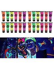 Glow Paint, Fesjoy 24 Tubes 10ml / 0.34oz Art Body Paint Glow in UV Light Face & Body Paint met 6 kleuren Glow Blacklight Neon Fluorescent voor Feest Clubbing Festival Halloween Make-up