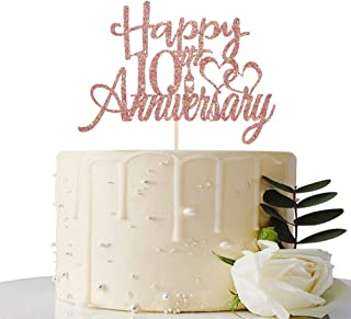 Maicaiffe Rose Gold Glitter Happy 10th Anniversary Cake Topper - for 10th Wedding Anniversary / 10th Anniversary / 10th Bi...
