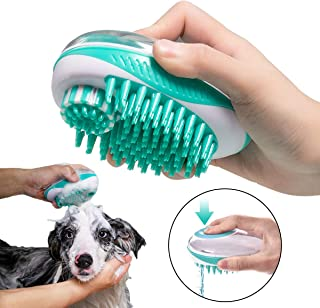 Kingtree Pet Bath & Massage Brush 2-in-1 Shampoo Dispensing Grooming Brush for Dog Cat Small Animal Pets, Pet Scrubber Silicone Brush Bristle Bathing Supplies for Removes Loose Hair and Dead Fur