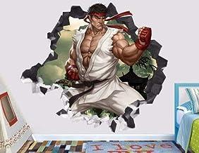 WARMBERL Sticker Mural Stickers Muraux Street Fighter Ken Akuma Ryu Cassé Sticker Mural 3D Autocollant Décoratif En Vinyle